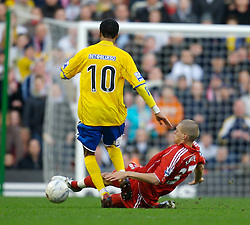 LIVERPOOL, ENGLAND - Saturday, January 26, 2008: Liverpool's Martin Skrtel tackles Havant and Waterlooville Rocky Baptiste during the FA Cup 4th Round match at Anfield. (Photo by David Rawcliffe/Propaganda)