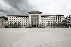 "THEMENBILD - Das Neue Landhaus in Innsbruck ist der Sitz verschiedener Verwaltungseinrichtungen des Landes Tirol. Das Gebäude wurde 1938/1939 in der Zeit des Nationalsozialismus als Verwaltungssitz (""Gauhaus"") für den neu eingerichteten Reichsgau Tirol-Vorarlberg errichtet. Über dem Seiteneingang sind noch das Tiroler und das Vorarlberger Wappen zu sehen, die für den Gau standen. Innsbruck, Montag, 13. Mai 2019 // The ""Neues Landhaus"" in Innsbruck is the seat of various administrative institutions of the federal state of Tyrol. The building was built in 1938/1939 during the period of National Socialism as administrative headquarters (""Gauhaus"") for the newly established Reichsgau Tyrol-Vorarlberg. Above the side entrance are still the Tyrolean and the Vorarlberg coat of arms to see, which stood for the Gau. Innsbruck, Monday, May 13, 2019. EXPA Pictures © 2019, PhotoCredit: EXPA/ Johann Groder"