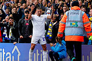 Leeds United midfielder Kalvin Phillips (23) scores a goal and celebrates to make the score 1-0 during Leeds United's 100th anniversary EFL Sky Bet Championship match between Leeds United and Birmingham City at Elland Road, Leeds, England on 19 October 2019.