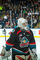 KELOWNA, CANADA - OCTOBER 4: Brodan Salmond #31 of the Kelowna Rockets skates to the bench during a second period goalie change against the Victoria Royals on October 4, 2017 at Prospera Place in Kelowna, British Columbia, Canada.  (Photo by Marissa Baecker/Shoot the Breeze)  *** Local Caption ***