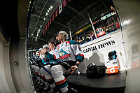 KELOWNA, CANADA - FEBRUARY 14: Carsen Twarynski #18 of the Kelowna Rockets sits on the bench against the Red Deer Rebels  on February 14, 2018 at Prospera Place in Kelowna, British Columbia, Canada.  (Photo by Marissa Baecker/Shoot the Breeze)  *** Local Caption ***