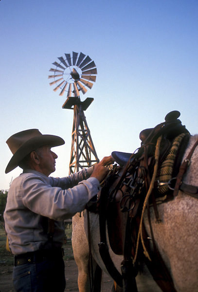 older man putting a saddle on his horse