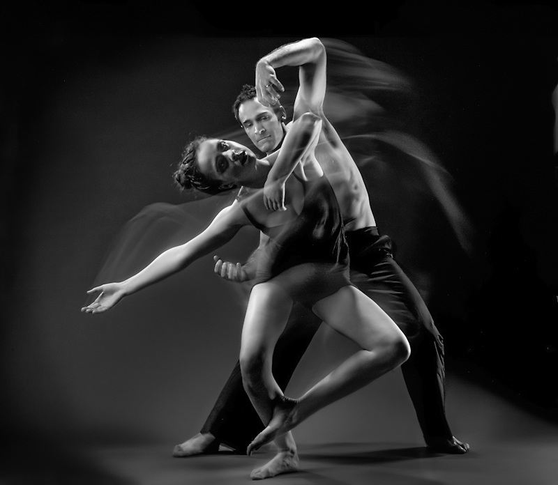 A couple display the fluidity of dance and movement in the studio