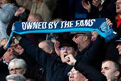 A Wycombe Wanderers fan holds up a Wycombe Wanderers scarf - Mandatory by-line: Ryan Crockett/JMP - 28/04/2018 - FOOTBALL - Proact Stadium - Chesterfield, England - Chesterfield v Wycombe Wanderers - Sky Bet League Two