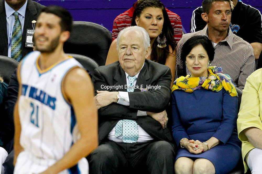 April 15, 2012; New Orleans, LA, USA; New Orleans Hornets newly named owner Tom Benson and his wife Gayle watch their team during the first quarter of a game against the Memphis Grizzlies at the New Orleans Arena.   Mandatory Credit: Derick E. Hingle-US PRESSWIRE