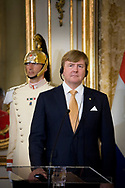 Rome, 20-06-2017 <br /> <br /> State visit from King Willem-Alexander and<br /> Queen M&aacute;xima to The Republic of Italy and The Holy See in Vatican City.<br /> <br /> Welcome ceremony Palazzo del Quirinale<br /> short press release heads of state.<br /> S. Mattarella, president van de Republic Italy, en Ms. L. Mattarella, daughter van de president.<br /> <br /> <br /> <br /> COPYRIGHT: ROYALPORTRAITS EUROPE/ BERNARD RUEBSAMEN