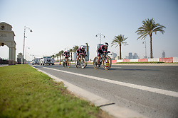 BTC City Ljubljana approach The Pearl at the 40 km Women's Team Time Trial, UCI Road World Championships 2016 on 9th October 2016 in Doha, Qatar. (Photo by Sean Robinson/Velofocus).