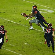 18 November 2017:  The San Diego State football team hosts Nevada Saturday night. San Diego State Aztecs cornerback Kameron Kelly (7) breaks up a pass to Nevada Wolf Pack wide receiver Daiyan Henley (11) in the third quarter. The Aztecs beat the Wolf Pack 42-23 at SDCCU stadium. <br /> www.sdsuaztecphotos.com