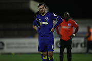 AFC Wimbledon midfielder Chris Whelpdale (11) during the EFL Trophy match between AFC Wimbledon and U23 Brighton and Hove Albion at the Cherry Red Records Stadium, Kingston, England on 6 December 2016.