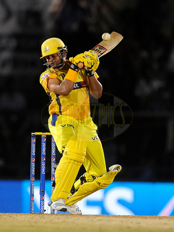 Suresh Raina of The Chennai Superkings leaves a ball as he bats during the eliminator match of the Pepsi Indian Premier League Season 2014 between the Chennai Superkings and the Mumbai Indians held at the Brabourne Stadium, Mumbai, India on the 28th May  2014<br /> <br /> Photo by Pal PIllai / IPL / SPORTZPICS<br /> <br /> <br /> <br /> Image use subject to terms and conditions which can be found here:  http://sportzpics.photoshelter.com/gallery/Pepsi-IPL-Image-terms-and-conditions/G00004VW1IVJ.gB0/C0000TScjhBM6ikg