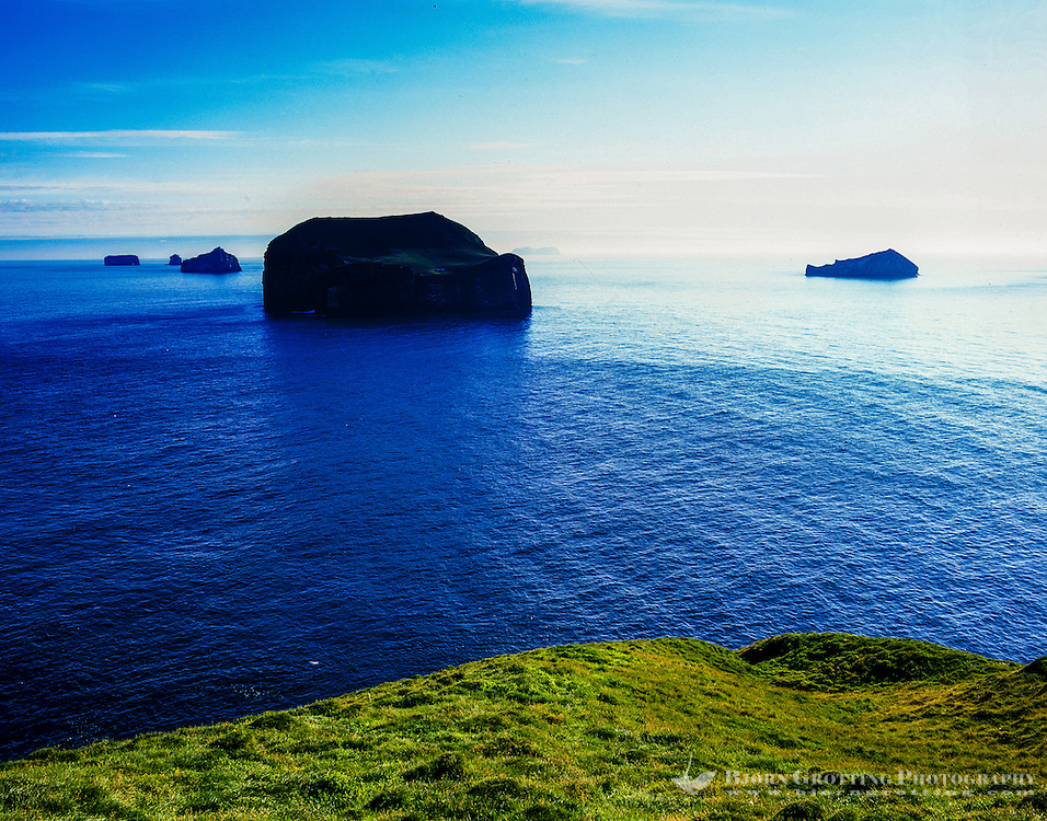 Vestmannaeyjar Islands off the south coast of Iceland. Heimaey with Surtsey on the horizon.