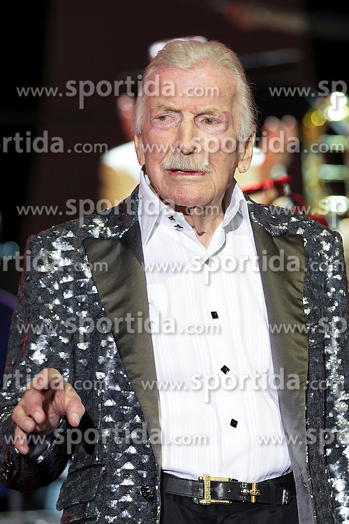 08.04.2015, Rothaus Arena, Freiburg, GER, James Last, Non Stop Music Tour, im Bild James Last mit Band // during a Concert of James Last with his Band on the Non Stop Music Tour at the Rothaus Arena in Freiburg, Germany on 2015/04/08. EXPA Pictures &copy; 2015, PhotoCredit: EXPA/ Eibner-Pressefoto/ Fleig<br /> <br /> *****ATTENTION - OUT of GER*****