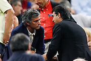 FC Barcelona's President Joan Laporta (r) and Inter de Milan's coach Jose Mourinho (l) during La Liga match.August 31 2009.