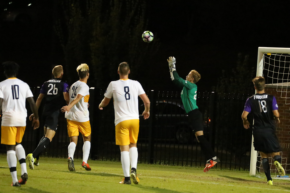 October 6, 2017 - Johnson City, Tennessee - Summers-Taylor Stadium: ETSU goal keeper Jonny Sutherland (26)<br /> <br /> Image Credit: Dakota Hamilton/ETSU