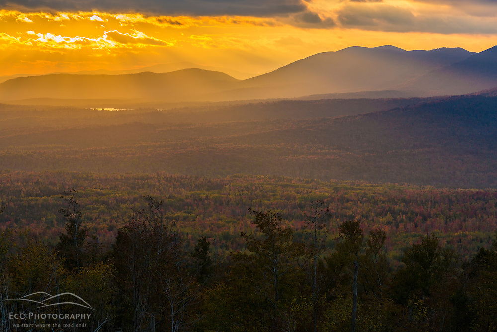 Sunset over East Kennebago Mountain as seen from Reddington Township, Maine.
