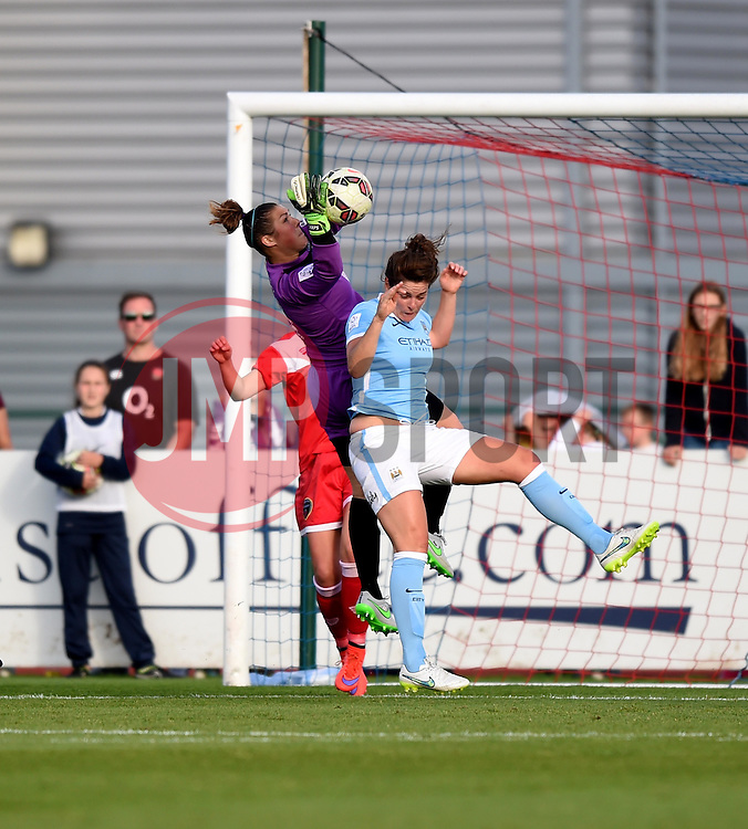 Bristol Academy's Mary Earps saves a free kick from Manchester City Women's Isobel Christiansen - Photo mandatory by-line: Paul Knight/JMP - Mobile: 07966 386802 - 18/07/2015 - SPORT - Football - Bristol - Stoke Gifford Stadium - Bristol Academy Women v Manchester City Women - FA Women's Super League