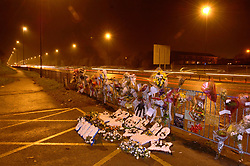 Floral memorial to 18 year old youth killed by a car whilst he tried to cross dual carriageway at Wallsend; Tyneside UK