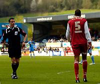 Photo: Alan Crowhurst.<br />Wycombe Wanderers v Darlington. Coca Cola League 2. 29/04/2006. Referee D Whitestone sends off Matt Clarke of Darlington.