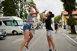 Cylance Pro Cycling support staff jumping for joy at the end of the Giro Rosa at Giro Rosa 2018 - Stage 10, a 120.3 km road race starting and finishing in Cividale del Friuli, Italy on July 15, 2018. Photo by Sean Robinson/velofocus.com