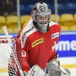WHITBY, - Dec 15, 2015 -  WJAC Game 6- Team Russia vs Team Switzerland at the 2015 World Junior A Challenge at the Iroquois Park Recreation Complex, ON. Matteo Ritz #30 of Team Switzerland during the third period.<br /> (Photo: Andy Corneau / OJHL Images)