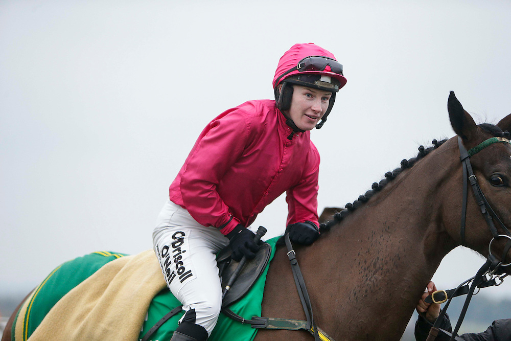 Navan Races, Saturday 27th February 2016.<br /> Nina Carberry mounts Gettysburg Address before the start of the Athboy Pro/Am Flat<br /> Photo: David Mullen /www.cyberimages.net / 2016