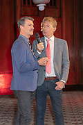 2019, April 01. Hotel Sofitel Legend the Grand, Amsterdam, the Netherlands. Martin Michel and Hans Cornelissen at the press presentation of Kinky Boots.