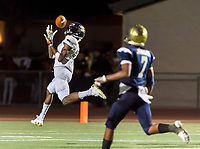 Inderkum Tigers Isaah Crocker (13), catches the ball for a touchdown making the score 25-16 after the point after attempt was good during the second quarter as the Elk Grove thundering Herd varsity football team host the Inderkum Tigers,  Friday Aug 25, 2017.<br /> photo by Brian Baer