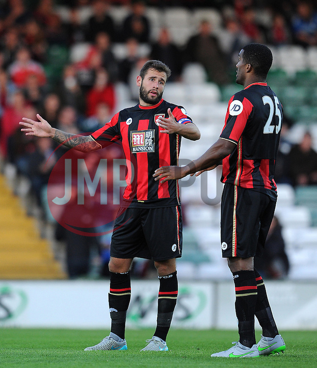 Bournemouth's Steve Cook and Sylvin Distin chat - Photo mandatory by-line: Harry Trump/JMP - Mobile: 07966 386802 - 28/07/15 - SPORT - FOOTBALL - Pre Season Fixture - Yeovil Town v Bournemouth - Huish Park, Yeovil, England.