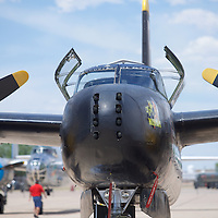 The WWII vintage A-26 Avenger attack/bomber. 8 Machine guns mounted in the nose for ground attack - it means business!