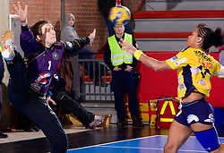 Goalkeeper of Krim Jelena Grubisic vs Katty Piejos of Metz at handball match of Round 5 of Champions League between RK Krim Mercator and Metz Handball, France, on January 9, 2010 in Kodeljevo, Ljubljana, Slovenia. (Photo by Vid Ponikvar / Sportida)