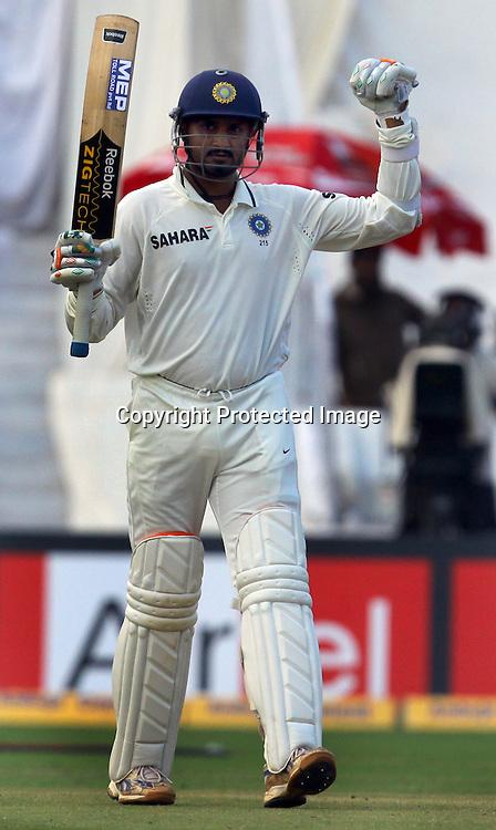 Indian batsman Harbhajan Singh celebrates half century against New Zealand during the 2nd test match India vs New Zealand Played at Rajiv Gandhi International Stadium, Uppal, Hyderabad 14, November 2010 (5-day match)
