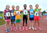 21 Aug 2016:  U8 Girls 80m finalists.  2016 Community Games National Festival 2016.  Athlone Institute of Technology, Athlone, Co. Westmeath. Picture: Caroline Quinn