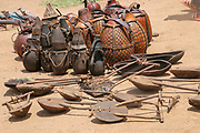 Africa, Ethiopia, Omo River Valley Hamer Tribe handicraft gourd jugs on display