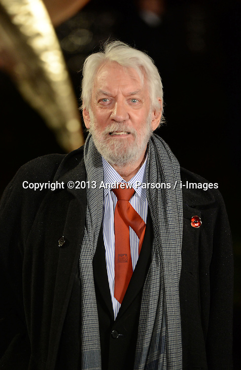 Donald Sutherland arrives for The Hunger Games: Catching Fire premiere, Leicester Square, London, United Kingdom. Monday, 11th November 2013. Picture by Andrew Parsons / i-Images