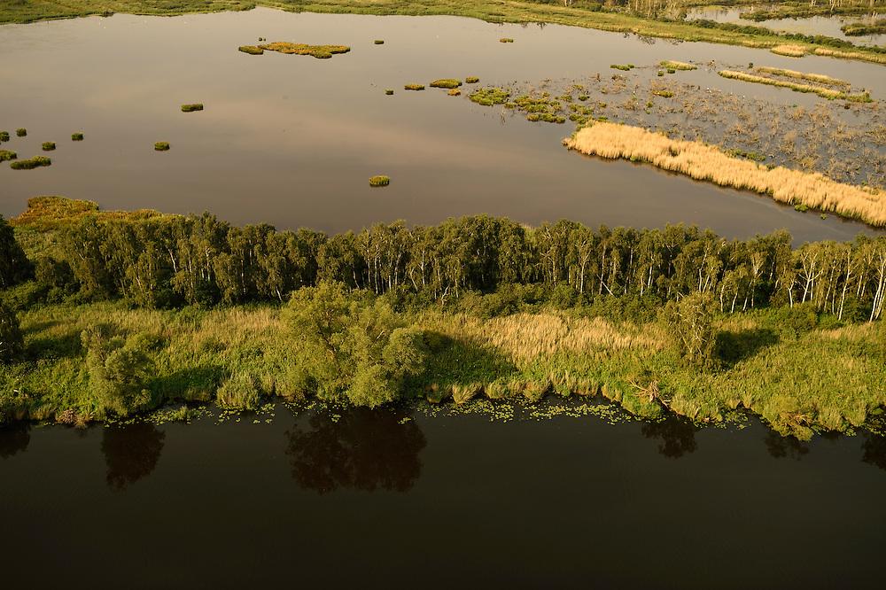 Peene river and flooded lands near Anklamer Stadtbruch, Germany