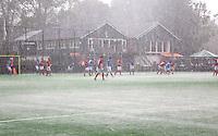BLOEMENDAAL - Wolkbreuk boven de velden van Bloemendaal.  Oud internationals Eby Kessing, Ronald Brouwer en Nick Meijer, alle spelers van Bloemendaal, namen afscheid met een afscheidsdrieluik. COPYRIGHT KOEN SUYK
