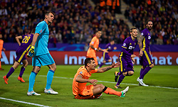 MARIBOR, SLOVENIA - Tuesday, October 17, 2017: Liverpool's Dejan Lovren reacts after being hit by a high boot from NK Maribor's Aleksander Rajčević during the UEFA Champions League Group E match between NK Maribor and Liverpool at the Stadion Ljudski vrt. (Pic by David Rawcliffe/Propaganda)