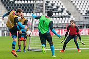 ALKMAAR - 15-02-2017, AZ - Olympique Lyon, AFAS Stadion, training, AZ speler Thomas Ouwejan, AZ keeper Tim Krul