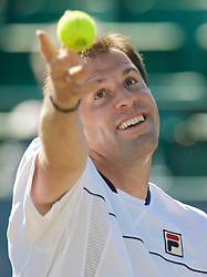 NOTTINGHAM, ENGLAND - Thursday, June 11, 2009: Greg Rusedski (GBR) serves on day one of the Tradition Nottingham Masters tennis event at the Nottingham Tennis Centre. (Pic by David Rawcliffe/Propaganda)