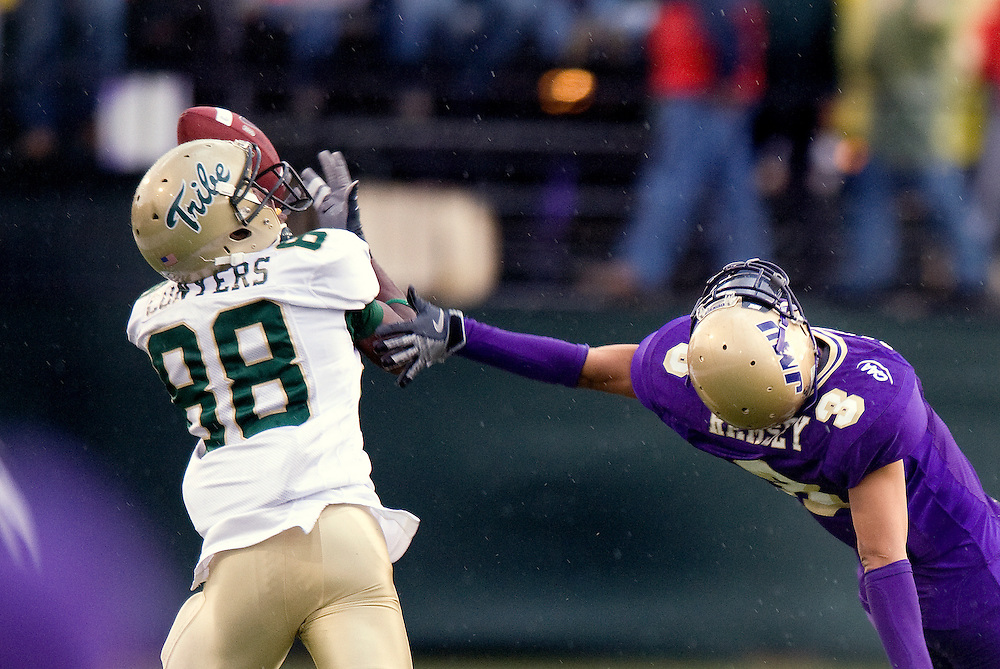 James Madison cornerback Darrieus Ramsey tries to break up a pass to William and Mary wide-receiver Terreon Conyers during third quarter action at Bridgeforth Stadium in Harrisonburg Saturday. James Madison beat the Tribe 48-24.