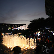 The fountain outside Arthur Ashe Stadium at dusk during the US Open. Flushing, New York, USA. 30th August 2013. Photo Tim Clayton