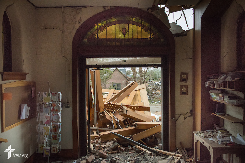 The front entrance of Zion Lutheran Church on Monday, May 11, 2015, in Delmont, S.D. A tornado swept through the area the previous day and destroyed the church and nearby buildings. LCMS Communications/Erik M. Lunsford
