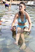 Bikini Girls Compete Catching Fish