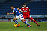 Chesterfield FC miffielder Sam Morsy wins the ball in midfield during the Sky Bet League 1 match between Chesterfield and Swindon Town at the Proact stadium, Chesterfield, England on 28 November 2015. Photo by Aaron Lupton.