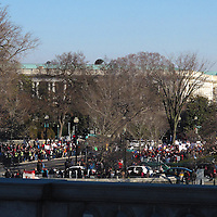 A view from the Library of Congress shows demonstrators holding signs and marching outside the Supreme Court in Washington D.C. on Tuesday, March 26, 2013, where the justices were hearing arguments on California's voter approved ban on same-sex marriage called Proposition 8. The Supreme Court waded into the fight over same-sex marriage Tuesday, at a time when public opinion is shifting rapidly in favor of permitting gay and lesbian couples to wed, but 40 states don't allow it. (AP Photo/ Alex Menendez)