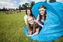 Brooke McFarlane, Jordan Rowlands and Chelsea Hoy. The opening of the T in the Park 2015 campsite for the very first year at its new home at Strathallan Castle.