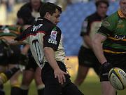 02/03/2003.Sport - 2003 Powergen Cup Semi- final - London Irish v Northampton Saints.Barry Everitt kicking from behind the scrum.