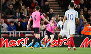 Oliver McBurnie of Scotland sets up Scotlands goal during the U21 UEFA EURO first qualifying round match between England and Scotland at the Riverside Stadium, Middlesbrough, England on 6 October 2017. Photo by Paul Thompson.