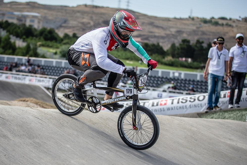 Men Elite #179 (MARQUART Simon M.) SUI the 2018 UCI BMX World Championships in Baku, Azerbaijan.