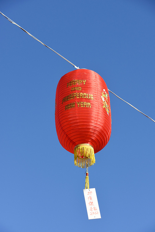 Red Lantern hang ready to be lit up at dusk